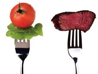 vegetables-versus-meat-on-forks